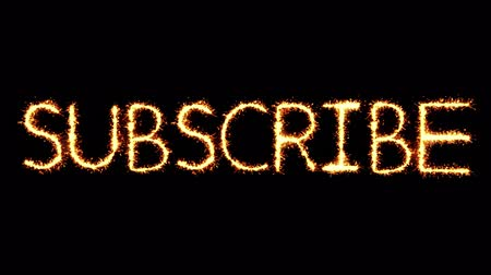 monção : Subscribe Text Sparkler Writing With Glitter Sparks Particles Firework on Black 4K Loop Background. Greeting card, Invitation, Celebration, Party, Gift, Message, Wishes, Festival.