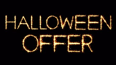 promocional : Halloween Offer Text Sparkler Writing With Glitter Sparks Particles Firework on Black 4K Loop Background. Greeting card, Invitation, Celebration, Party, Gift, Message, Wishes, Festival. Vídeos
