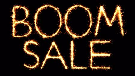 comics : Boom Sale Text Sparkler Writing With Glitter Sparks Particles Firework on Black 4K Loop Background. Greeting card, Invitation, Celebration, Party, Gift, Message, Wishes, Festival.