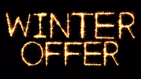 ограничен : Winter Offer Text Sparkler Writing With Glitter Sparks Particles Firework on Black 4K Loop Background. Greeting card, Invitation, Celebration, Party, Gift, Message, Wishes, Festival.