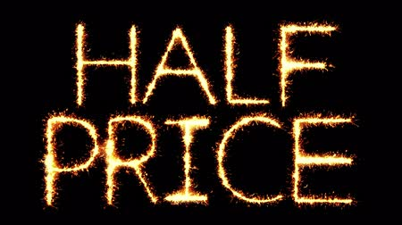 týden : Half Prices Text Sparkler Writing With Glitter Sparks Particles Firework on Black 4K Loop Background. Greeting card, Invitation, Celebration, Party, Gift, Message, Wishes, Festival.
