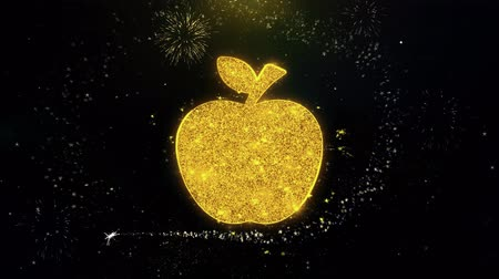 apple sign : Apple Icon on Gold Glitter Particles Spark Exploding Fireworks Display . Object, Shape, Text, Design, Element, Symbol 4K Animation.