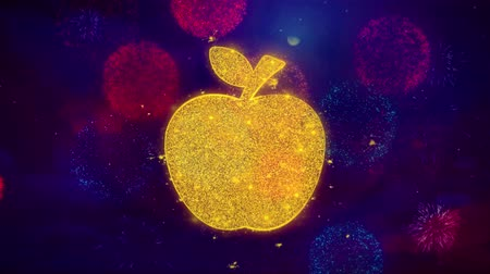 apple sign : Apple Icon Symbol on Colorful Fireworks Particles. Object, Shape, Design, Text, Element, 4K Loop Animation. Stock Footage