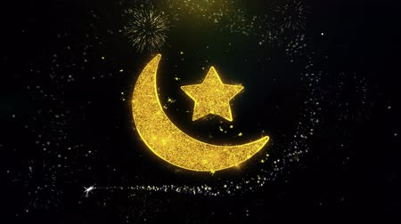 mesquita : Eid Islamic Icon on Gold Glitter Particles Spark Exploding Fireworks Display . Object, Shape, Text, Design, Element, Symbol 4K Animation.