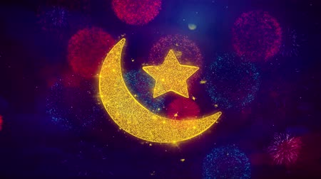 повод : Eid Islamic Icon Symbol on Colorful Fireworks Particles. Object, Shape, Design, Text, Element, 4K Loop Animation. Стоковые видеозаписи