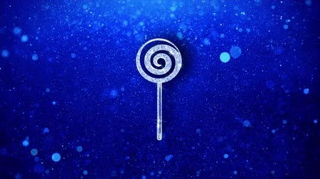çiğnemek : Lollipop Candy Icon White Blinking Glitter Glowing Shine on Blue Particles. Shape, Web, Text , Design, Element, Symbol 4K Loop Animation. Stok Video