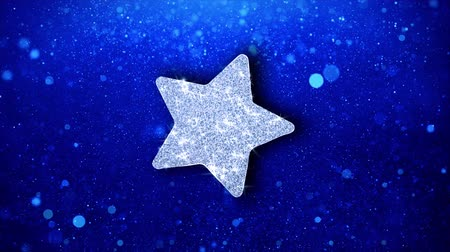 five stars : Star Icon White Blinking Glitter Glowing Shine on Blue Particles. Shape, Web, Text , Design, Element, Symbol 4K Loop Animation.