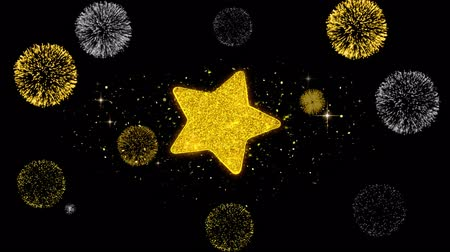 hodnocení : Star Icon on Glitter Golden Particles Effect Firework. Object, Shape, Text, Design, Element, symbol 4K Animation. Dostupné videozáznamy