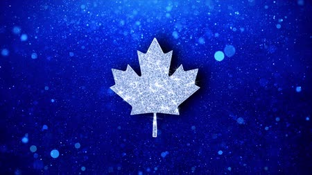 Észak amerika : Canadian Maple Leaf Icon White Blinking Glitter Glowing Shine on Blue Particles. Shape, Web, Text , Design, Element, Symbol 4K Loop Animation. Stock mozgókép
