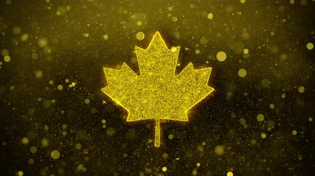 canadian maple leaf : Canadian Maple Leaf Icon Golden Glitter Glowing Lights Shine Particles. Object, Shape, Web, Design, Element, symbol 4K Loop Animation. Stock Footage