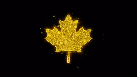 canadian maple leaf : Canadian Maple Leaf Icon Sparks Glitter Particles on Black Background. Shape, Design, Text, Element, Symbol Alpha Channel 4K Loop.