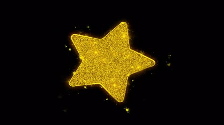 medaille : Star Icon Sparks Glitter Particles on Black Background. Shape, Design, Text, Element, Symbol Alpha Channel 4K Loop. Stockvideo