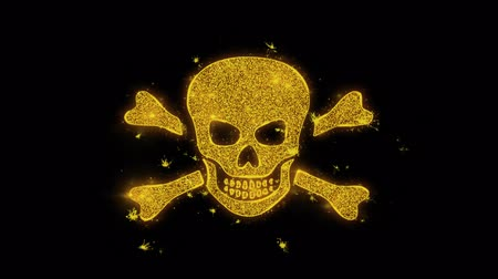 piraterij : Skull And Crossbones Icon Sparks Glitter Particles on Black Background. Shape, Design, Text, Element, Symbol Alpha Channel 4K Loop.
