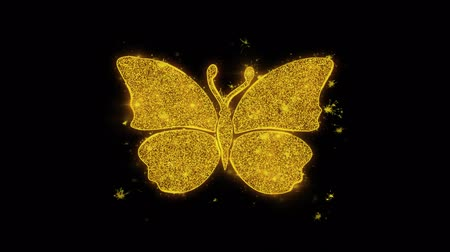 katicabogár : Butterfly And Bee Icon Sparks Glitter Particles on Black Background. Shape, Design, Text, Element, Symbol Alpha Channel 4K Loop.