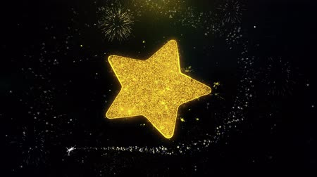 hodnost : Star Icon on Gold Glitter Particles Spark Exploding Fireworks Display . Object, Shape, Text, Design, Element, Symbol 4K Animation.