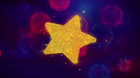 hodnocení : Star Icon Symbol on Colorful Fireworks Particles. Object, Shape, Design, Text, Element, 4K Loop Animation.