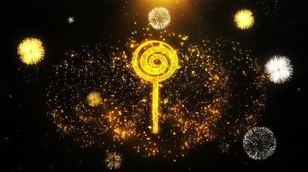 caramelo : Lollipop Candy Icon on Firework Display Explosion Particles. Object, Shape, Text, Design, Element, Symbol 4K Animation. Vídeos