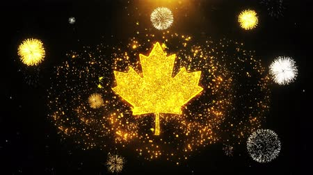príncipe : Canadian Maple Leaf Icon on Firework Display Explosion Particles. Object, Shape, Text, Design, Element, Symbol 4K Animation.