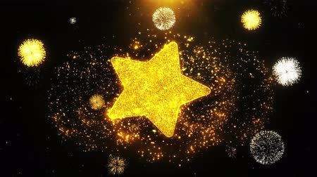 favori : Star Icon on Firework Display Explosion Particles. Object, Shape, Text, Design, Element, Symbol 4K Animation.