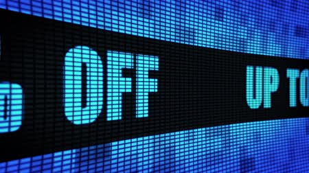 čtyřicet : Up To 40% Percent Off Side Text Scrolling on Light Blue Digital LED Display Board Pixel Light Screen Looped Animation 4K Background. Sign Board , Blinking Light, Pixel Monitor, LED Wall Pannel Dostupné videozáznamy