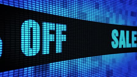 off : Sale 40% Percent Off Side Text Scrolling on Light Blue Digital LED Display Board Pixel Light Screen Looped Animation 4K Background. Sign Board , Blinking Light, Pixel Monitor, LED Wall Pannel