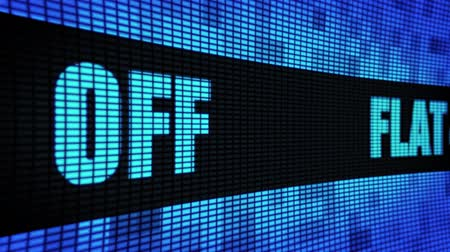 čtyřicátá léta : Flat 40% Percent Off Side Text Scrolling on Light Blue Digital LED Display Board Pixel Light Screen Looped Animation 4K Background. Sign Board , Blinking Light, Pixel Monitor, LED Wall Pannel
