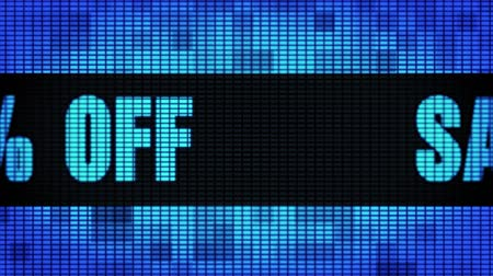 Sale 50% Percent Off Front Text Scrolling on Light Blue Digital LED Display Board Pixel Light Screen Looped Animation 4K Background. Sign Board , Blinking Light, Pixel Monitor, LED Wall Pannel