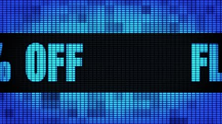 Flat 60% Percent Off Front Text Scrolling on Light Blue Digital LED Display Board Pixel Light Screen Looped Animation 4K Background. Sign Board , Blinking Light, Pixel Monitor, LED Wall Pannel