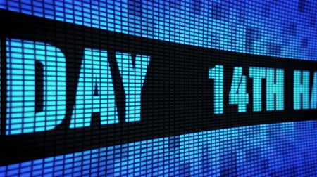 tarjeta de agradecimiento : 14th Happy Birthday Side Text Scrolling on Light Blue Digital LED Display Board Pixel Light Screen Looped Animation 4K Background. Sign Board , Blinking Light, Pixel Monitor, LED Wall Pannel