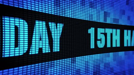 th : 15th Happy Birthday Side Text Scrolling on Light Blue Digital LED Display Board Pixel Light Screen Looped Animation 4K Background. Sign Board , Blinking Light, Pixel Monitor, LED Wall Pannel Stock Footage