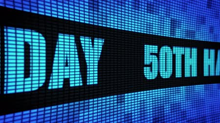 kívánságait : 50th Happy Birthday Side Text Scrolling on Light Blue Digital LED Display Board Pixel Light Screen Looped Animation 4K Background. Sign Board , Blinking Light, Pixel Monitor, LED Wall Pannel