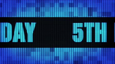 bóia : 5th Happy Birthday Front Text Scrolling on Light Blue Digital LED Display Board Pixel Light Screen Looped Animation 4K Background. Sign Board , Blinking Light, Pixel Monitor, LED Wall Pannel