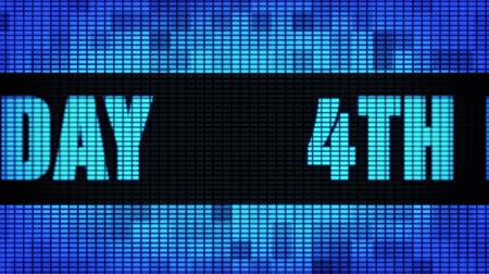4th Happy Birthday Front Text Scrolling on Light Blue Digital LED Display Board Pixel Light Screen Looped Animation 4K Background. Sign Board , Blinking Light, Pixel Monitor, LED Wall Pannel Stockvideo