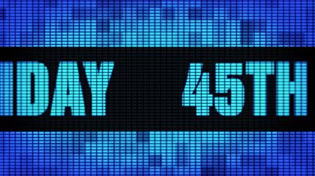 45th Happy Birthday Front Text Scrolling on Light Blue Digital LED Display Board Pixel Light Screen Looped Animation 4K Background. Sign Board , Blinking Light, Pixel Monitor, LED Wall Pannel