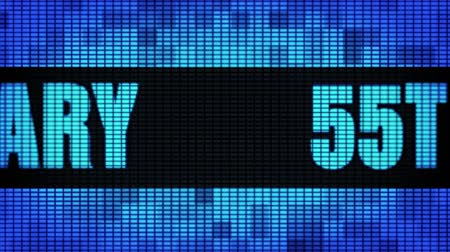 jubileu : 55th Anniversary Front Text Scrolling on Light Blue Digital LED Display Board Pixel Light Screen Looped Animation 4K Background. Sign Board , Blinking Light, Pixel Monitor, LED Wall Pannel