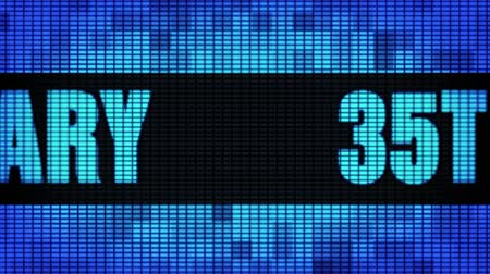 jubileu : 35th Anniversary Front Text Scrolling on Light Blue Digital LED Display Board Pixel Light Screen Looped Animation 4K Background. Sign Board , Blinking Light, Pixel Monitor, LED Wall Pannel Stock Footage