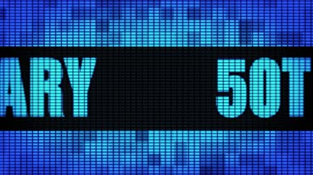 jubileu : 50th Anniversary Front Text Scrolling on Light Blue Digital LED Display Board Pixel Light Screen Looped Animation 4K Background. Sign Board , Blinking Light, Pixel Monitor, LED Wall Pannel