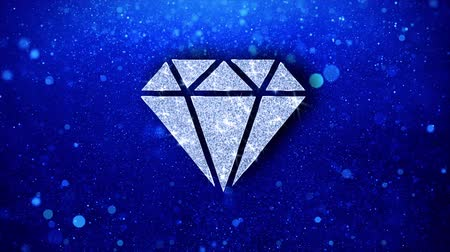 steinherz : Diamond Icon White Blinking Glitter Glowing Shine auf blauen Partikeln. Form, Web, Text, Design, Element, Symbol 4K-Loop-Animation.