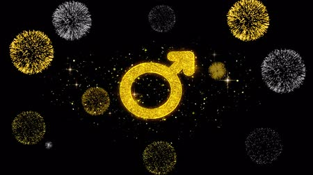 seks : Female Sign Gender Icon on Glitter Golden Particles Effect Firework. Object, Shape, Text, Design, Element, symbol 4K Animation.
