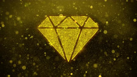karát : Diamond Icon Golden Glitter Glowing Lights Shine Particles. Object, Shape, Web, Design, Element, symbol 4K Loop Animation.
