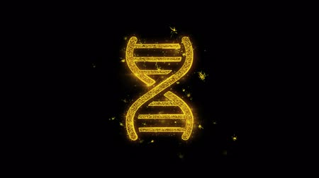 evolução : DNA Helix Icon Sparks Glitter Particles on Black Background. Shape, Design, Text, Element, Symbol Alpha Channel 4K Loop. Stock Footage