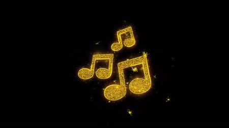 hangjegykulcs : Music Song Chords Icon Sparks Glitter Particles on Black Background. Shape, Design, Text, Element, Symbol Alpha Channel 4K Loop.