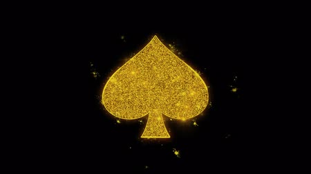 스페이드 : Playing Card Suit Spade Icon Sparks Glitter Particles on Black Background. Shape, Design, Text, Element, Symbol Alpha Channel 4K Loop.