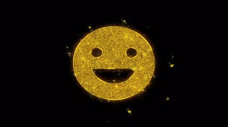 żart : Big Smile Emoji Icon Sparks Glitter Particles on Black Background. Shape, Design, Text, Element, Symbol Alpha Channel 4K Loop. Wideo