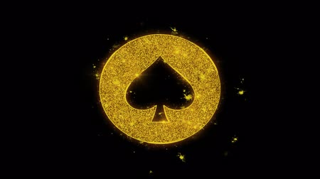esély : Playing Card Suit Spade Icon Sparks Glitter Particles on Black Background. Shape, Design, Text, Element, Symbol Alpha Channel 4K Loop.