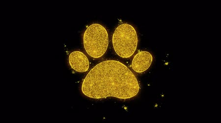 следы : Paw Icon Icon Sparks Glitter Particles on Black Background. Shape, Design, Text, Element, Symbol Alpha Channel 4K Loop.