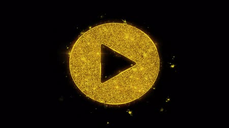video reel : Play Video Icon Sparks Glitter Particles on Black Background. Shape, Design, Text, Element, Symbol Alpha Channel 4K Loop.