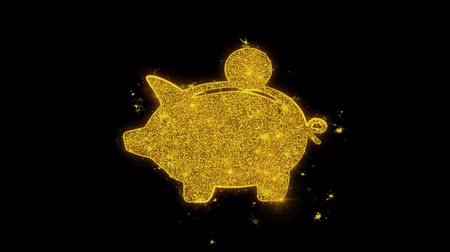 vetor : Piggy bank Coin Icon Sparks Glitter Particles on Black Background. Shape, Design, Text, Element, Symbol Alpha Channel 4K Loop.