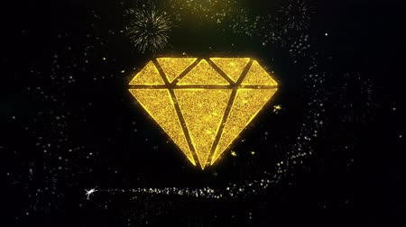 karát : Diamond Icon on Gold Glitter Particles Spark Exploding Fireworks Display . Object, Shape, Text, Design, Element, Symbol 4K Animation.