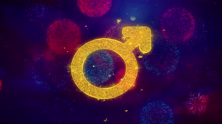 seks : Female Sign Gender Icon Symbol on Colorful Fireworks Particles. Object, Shape, Design, Text, Element, 4K Loop Animation. Stok Video